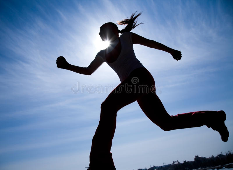Runner silhouette royalty free stock photos