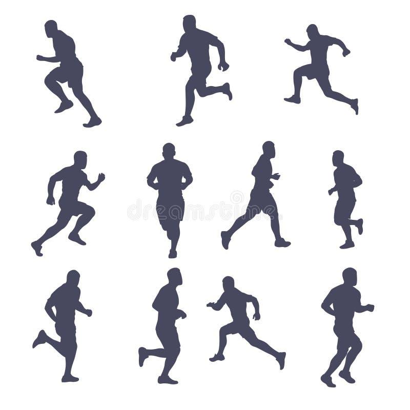 Runner silhouette set vector illustration