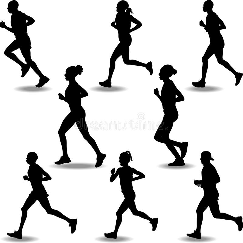 Runner silhouette vector. A group of eight runners in a marathon royalty free illustration