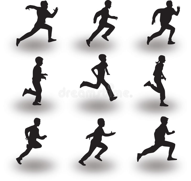 Runner silhouette vector. Group of nine runners silhouette vector, all you can select separately and runner and shadow royalty free illustration