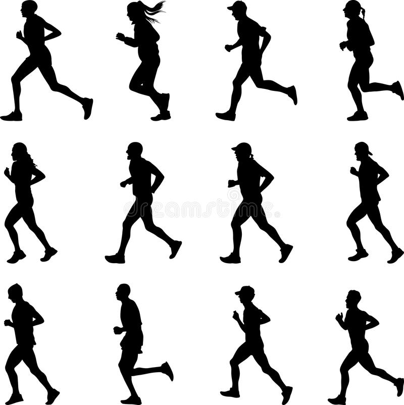 Runner silhouette vector. A large group of runners includes children and adults, men and women stock illustration