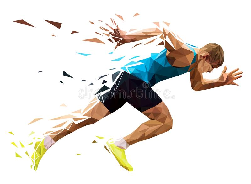 Runner sprinter explosive start vector illustration