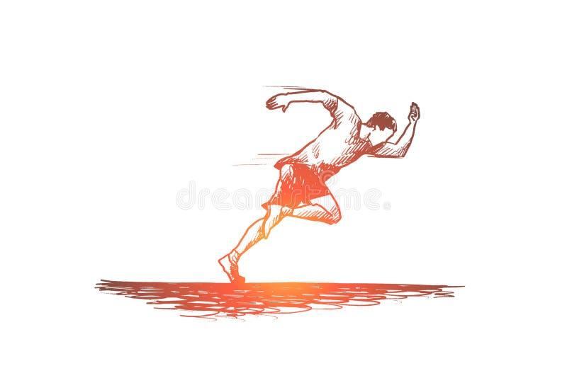 Runner, start, explosive, man and distance concept. Hand drawn isolated vector. Runner, start, explosive, man and distance concept. Hand drawn athlete running stock illustration