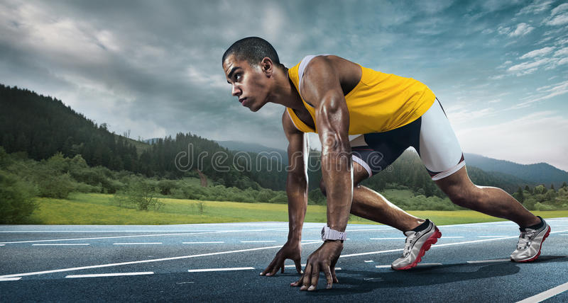 Runner on the start. royalty free stock photography