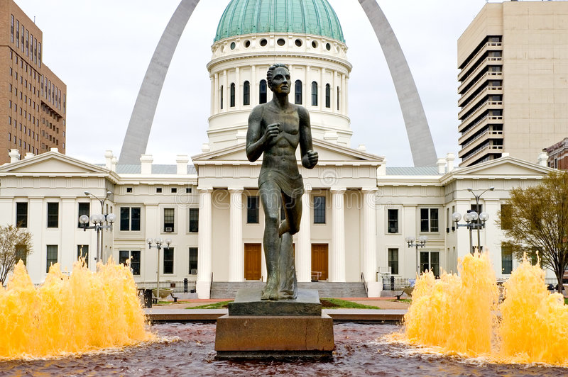 Runner statue in St. Louis stock photo