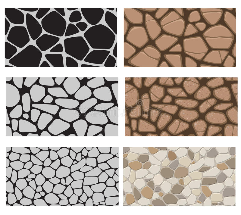 Runner stones. Collection of the building wall texture. Stone cladding, sidewalk, pavement. Endless pattern royalty free illustration