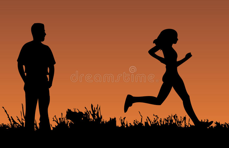 Runner at sunset royalty free stock images