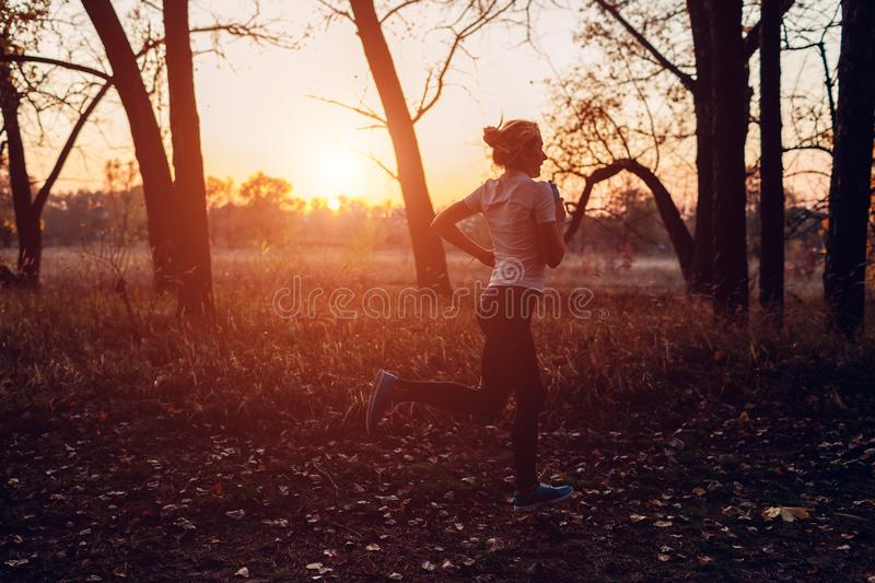 Runner training in autumn park. Woman running with water bottle at sunset. Active lifestyle. Silhouette royalty free stock photography