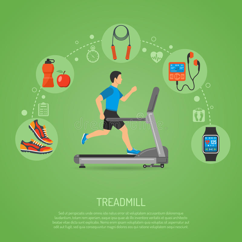 Runner on Treadmill Concept. Fitness, Cardio, Healthy Lifestyle Concept with Runner on Treadmill Icons for Mobile Applications, Web Site, Advertising vector illustration