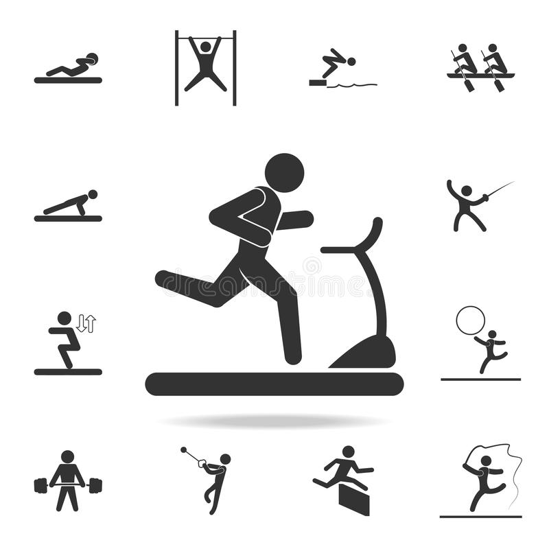 Runner on the treadmill icon. Detailed set of athletes and accessories icons. Premium quality graphic design. One of the collectio. N icons for websites, web royalty free illustration