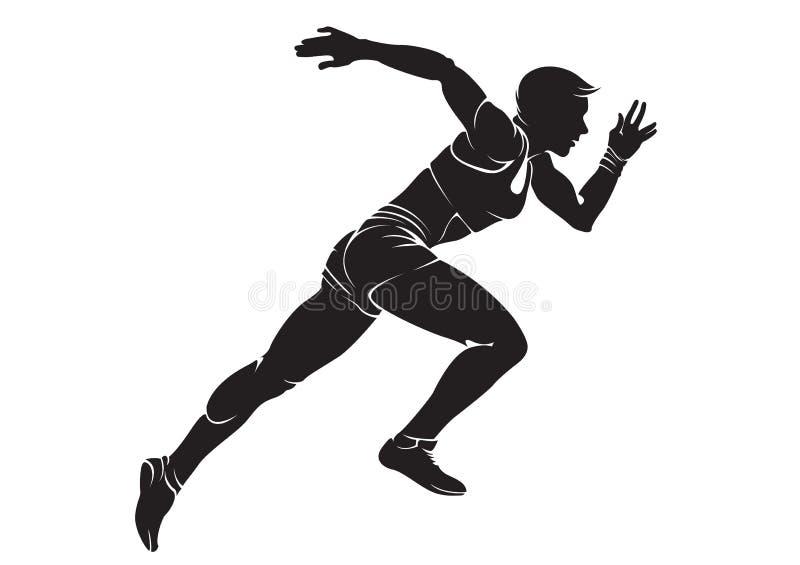 Runner-woman. Vector silhouette isolated on white vector illustration
