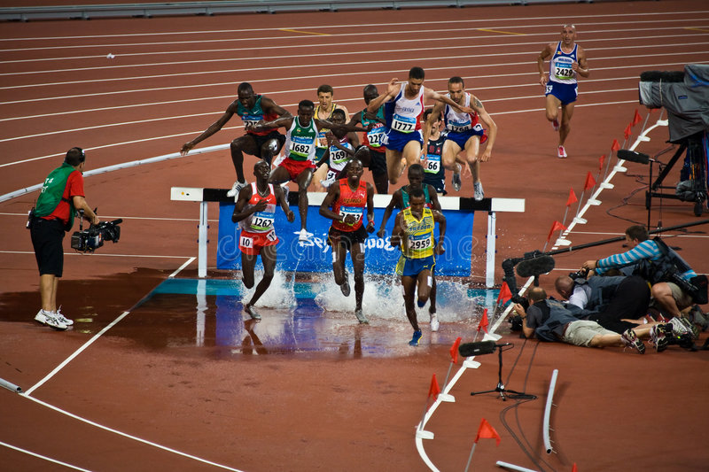 Runners at Beijing Olympics royalty free stock photos