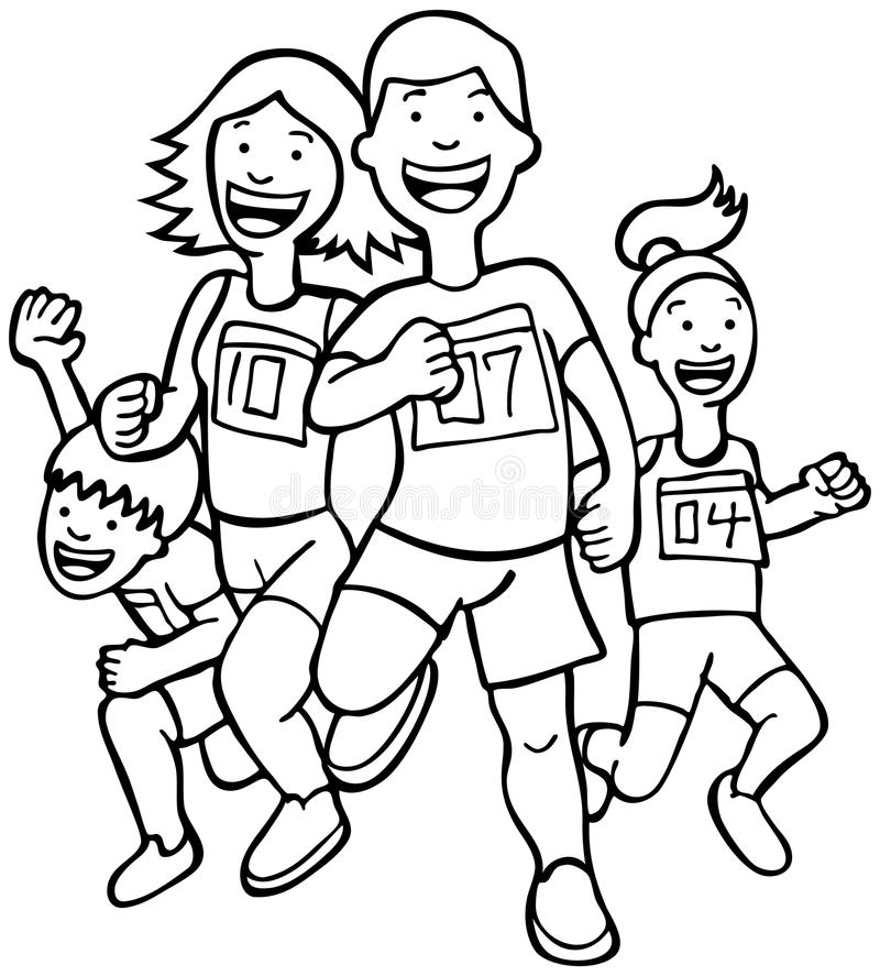 Runners - black and white royalty free stock photography