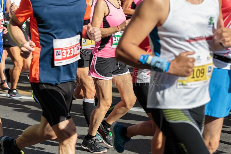 Runners during City Marathon Race Event in Summer Time.  stock photography