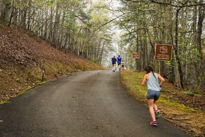 Runners Climbing Roanoke Mountain stock photo