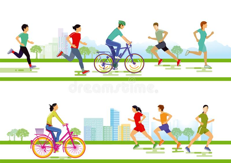 Runners and cyclists royalty free illustration