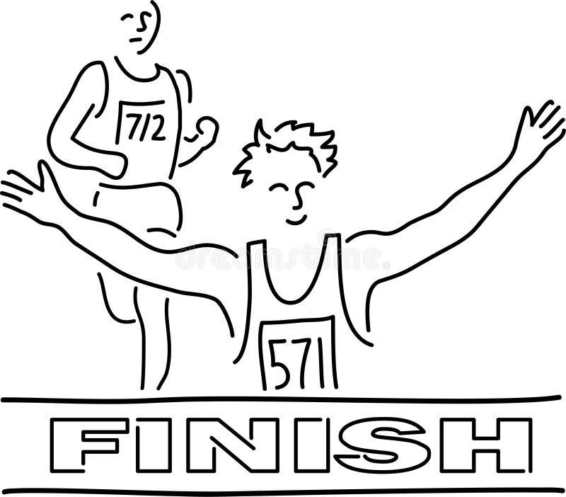 Runners Finish Line Cartoon. Cartoon illustration of runners at the finish line royalty free illustration