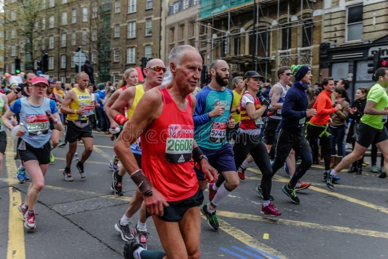 Runners at the London Marathon. stock photos