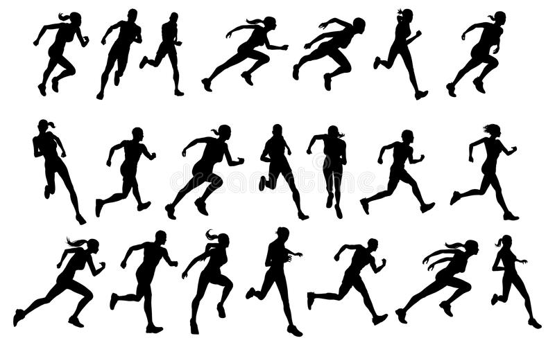 Runners running silhouettes stock illustration