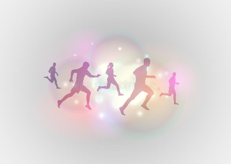 Runners. Silhouettes of runner on the background stock illustration