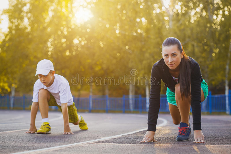 Runners in start position. royalty free stock photo