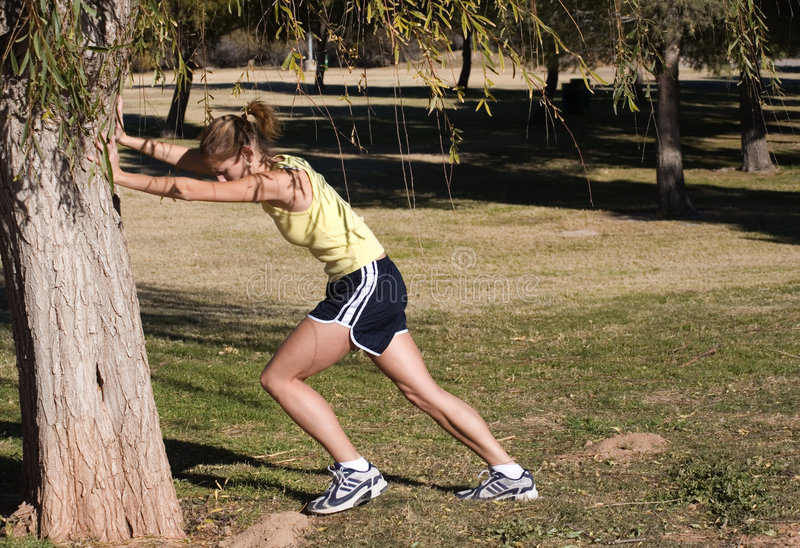 Runners Stretch royalty free stock photography