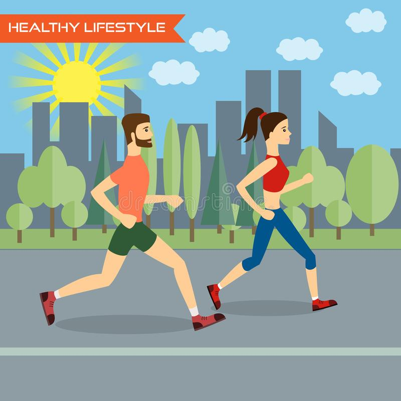 The runners. Young man and young woman fitness runners on city background. Healthy way of life, exercise and run. Vector illustration royalty free illustration
