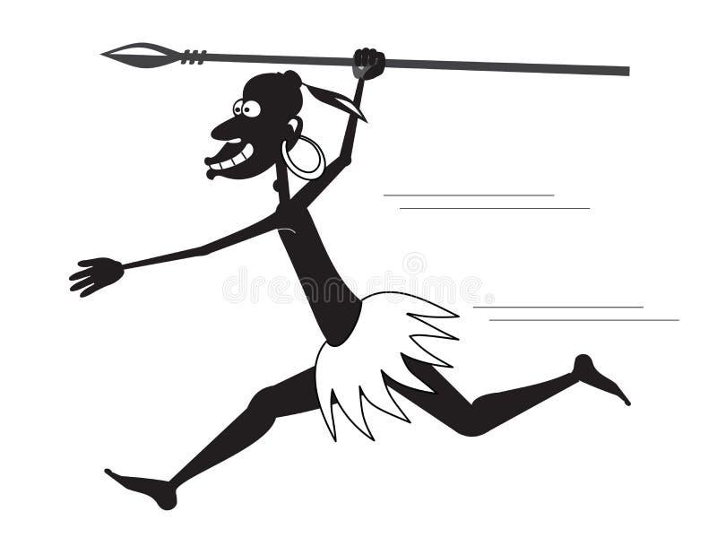 Runnibg aborygen z dzidą i kolczykiem royalty ilustracja