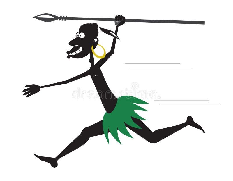 Runnibg aborygen z oszczepowym i złocistym kolczykiem royalty ilustracja