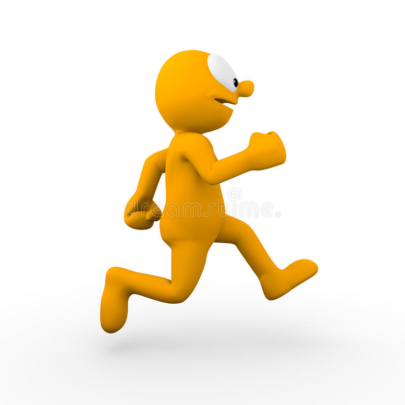 Running. Character running alone keeping fit royalty free illustration