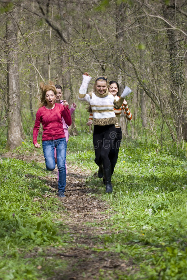Download Running stock image. Image of trees, girls, active, adults - 2487433