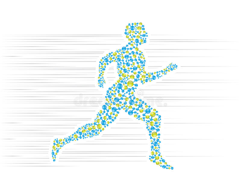 Running. Human body running in scientific presentation stock illustration