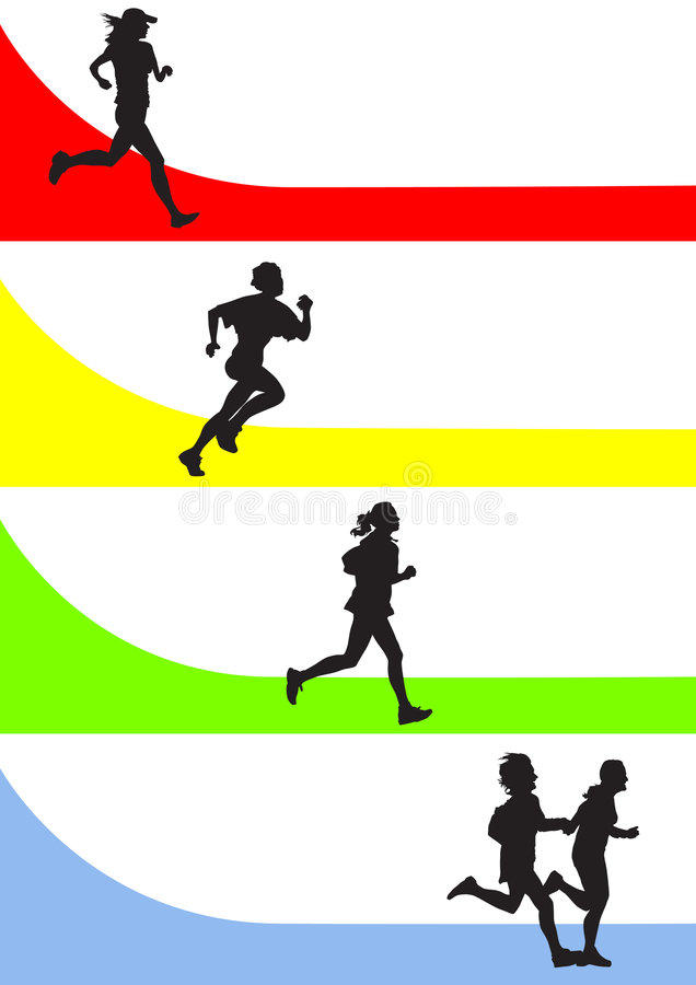 Running. Vector drawing running a marathon women's sports royalty free illustration