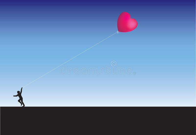 Running across the horizon with a heart kite royalty free illustration