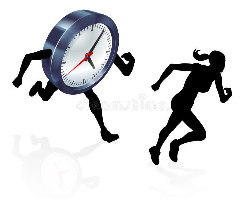 Running Against the Clock Stress Pressure Concept stock illustration