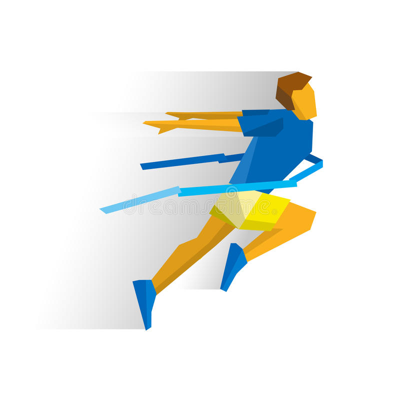 Running athlete crosses a finish line ribbon. Athlete isolated on white background with shadows. International sport games infographic. Winning runner - flat royalty free illustration