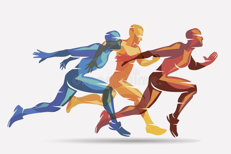 Running athletes vector symbol. Sport and competition concept background stock illustration