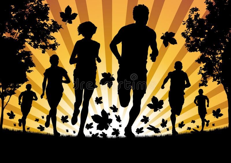 Download Running In The Autumn Leaves Stock Vector - Image: 27256649