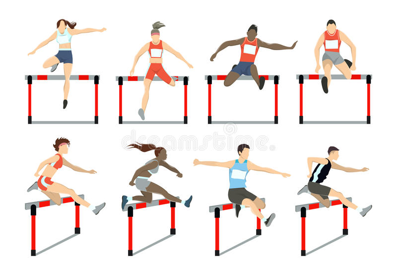 Running with barrier. Running with barrier set. Steeplechase with women and men royalty free illustration