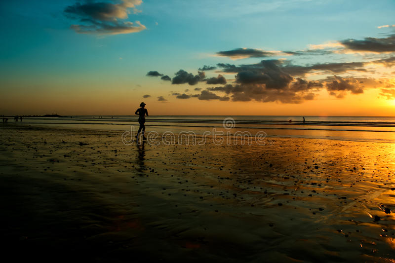 Running at the Beach stock photography