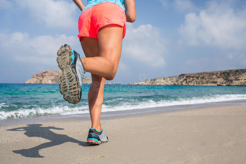 Running on the beach. stock photography