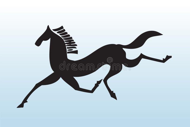 Download Running black horse stock vector. Image of horse, symbol - 7421345