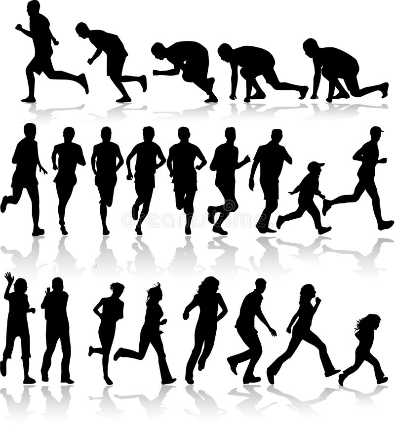 Download Running - Black Silhouettes Stock Vector - Image: 7814304