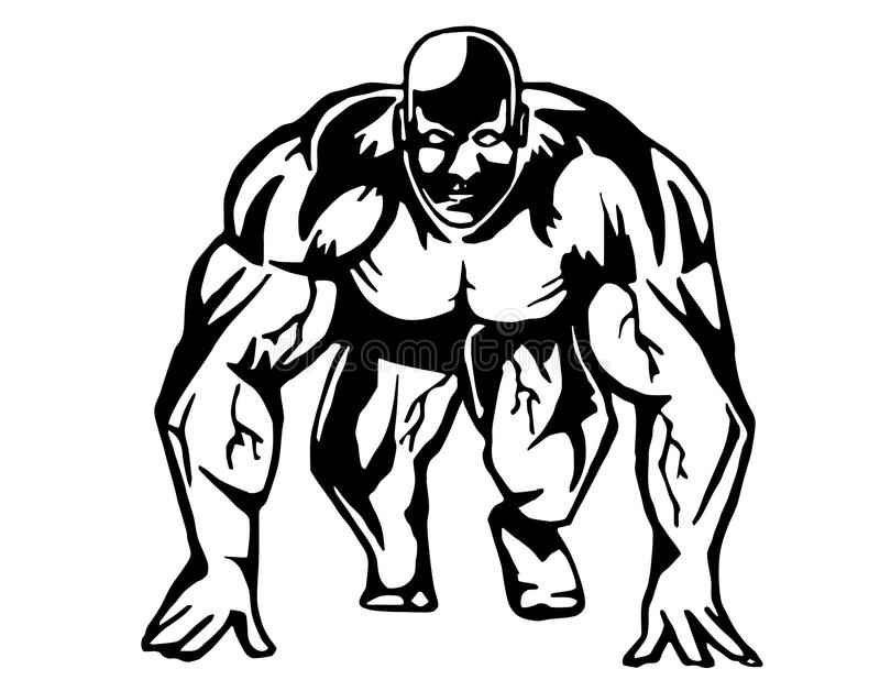 Running bodybuilder. Is hand drawn and live traced. Fills and outlines are separate groups, colors can be changed easily royalty free illustration