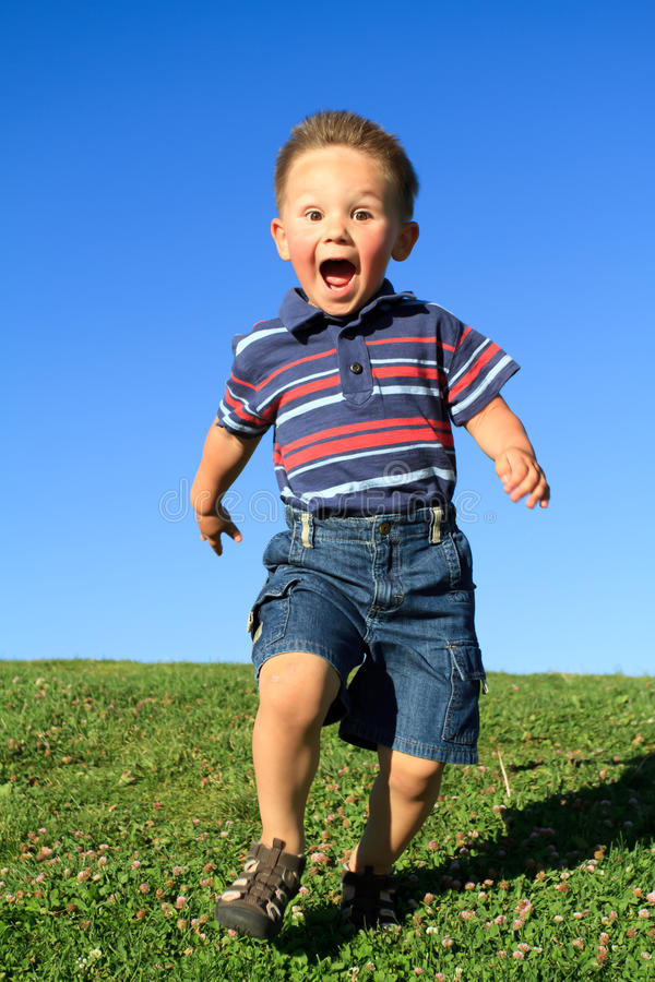 Download Running boy stock photo. Image of screaming, young, park - 18030398