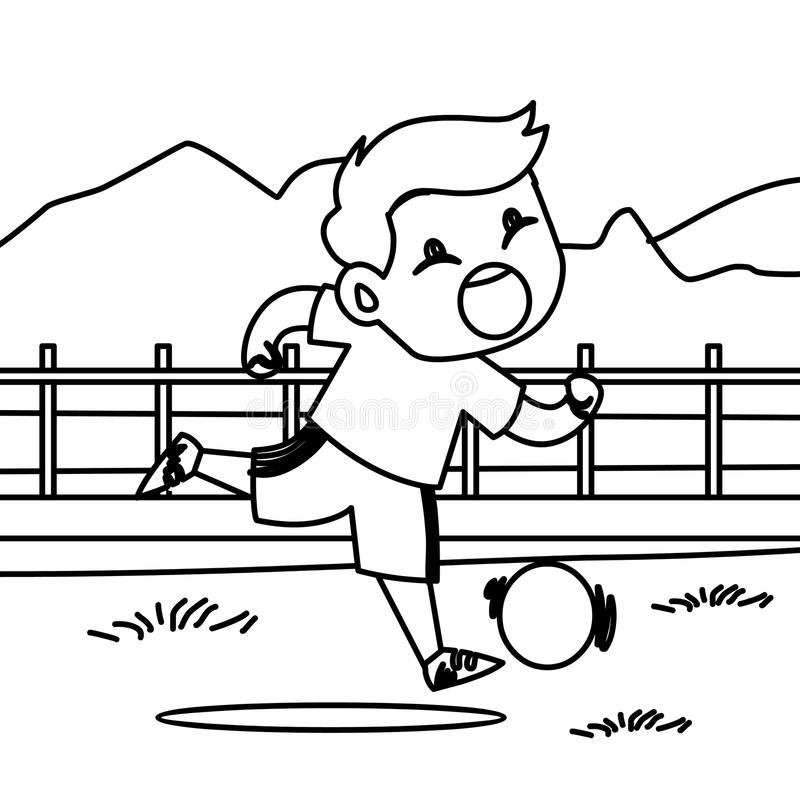 Running Boy With A Ball Coloring Page Stock Illustration ...