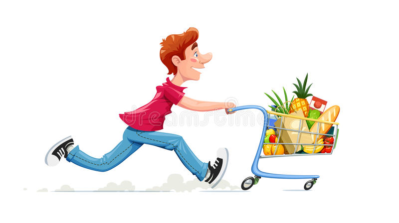 Running boy with product cart. Shopping in supermarket. Cartoon character foodstuff trolley. Isolated white background. Vector illustration vector illustration