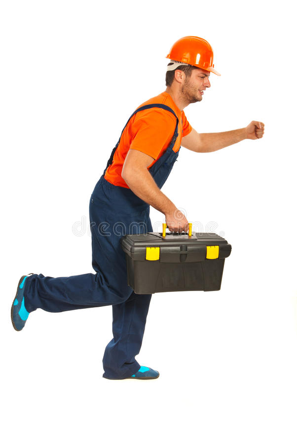 Running builder workman. With tool box isolated on white background stock image