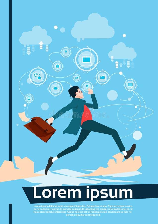 Running Business Man Manager Hurry. Flat Vector Illustration vector illustration