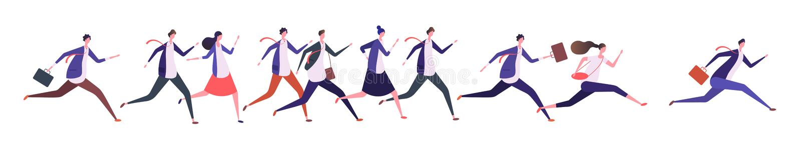 Running business people. Businessman businesswoman, jogging persons run to goal. Competition, leadership and success stock illustration